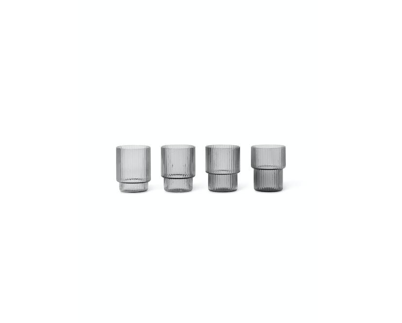 ferm LIVING - Ripple kleine Gläser (4er-Set) - rauchgrau - 1