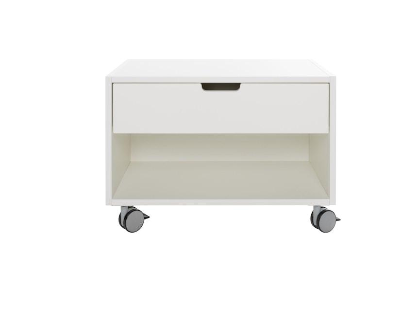Müller Möbelwerkstätten - Nachttisch auf Rollen - Melamin weiß & weiße Kante - 1