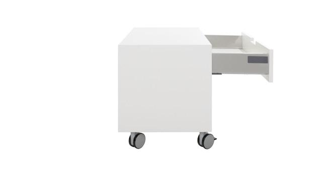 Müller Möbelwerkstätten - Nachttisch auf Rollen - Melamin weiß & weiße Kante - 2