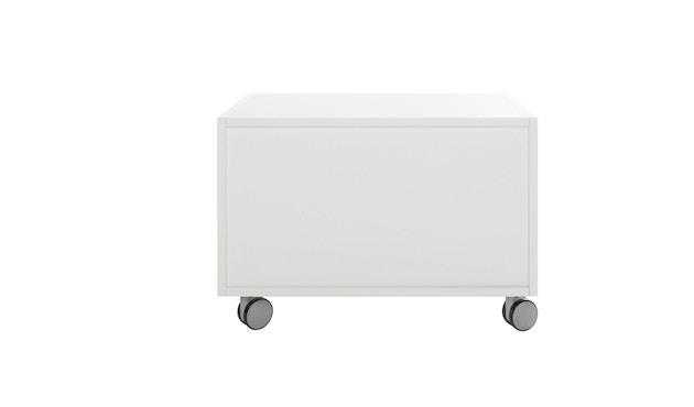 Müller Möbelwerkstätten - Nachttisch auf Rollen - Melamin weiß & weiße Kante - 4