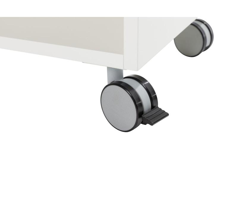 Müller Möbelwerkstätten - Nachttisch auf Rollen - Melamin weiß & weiße Kante - 5