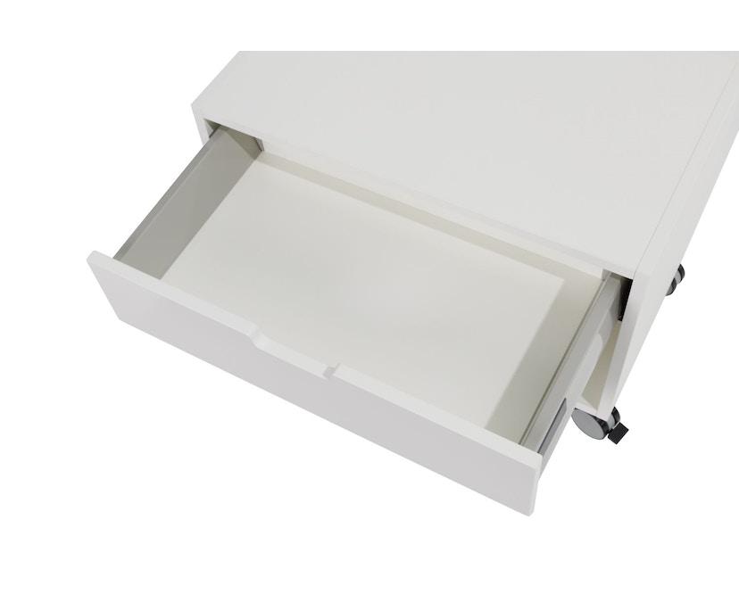 Müller Möbelwerkstätten - Nachttisch auf Rollen - Melamin weiß & weiße Kante - 7