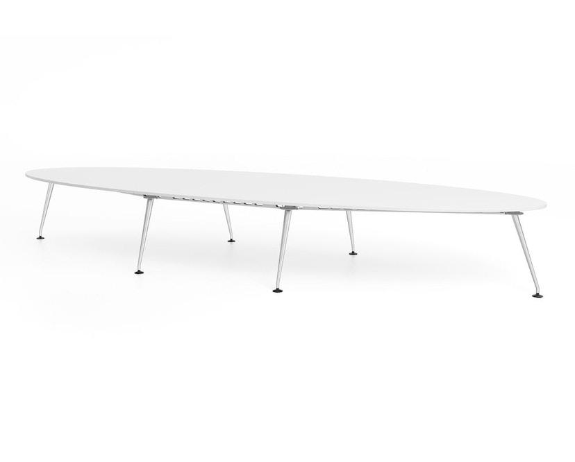 Vitra - MedaMorph Konferenztisch bootsförmig, 200x100 cm, Systemfuß poliert - Melamin soft light - 1