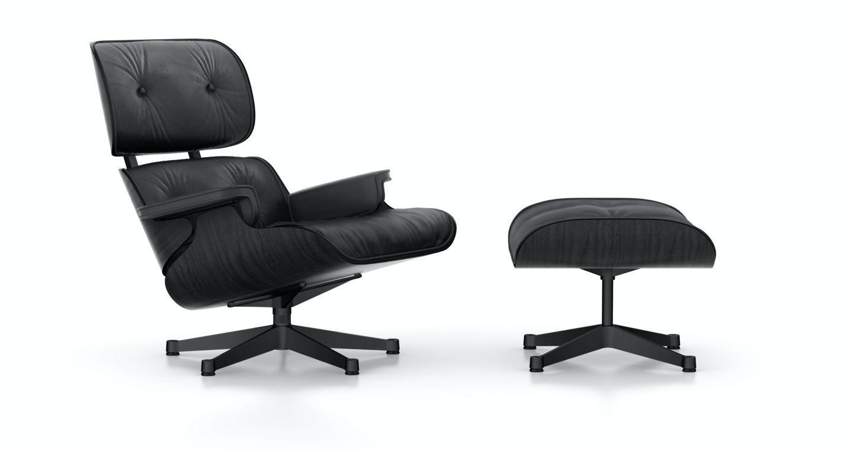 Vitra - Black Lounge Chair & Ottoman - XL - nouvelle dimension - 89 cm - 1