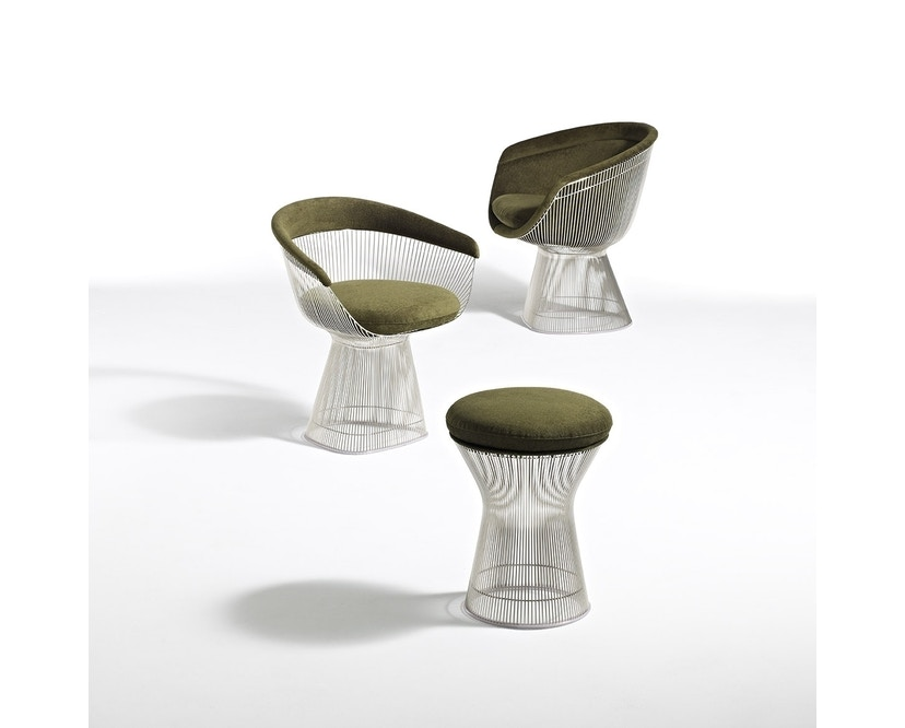 Knoll International - Platner Hocker - Circa oliv - polierter Nickel - 1