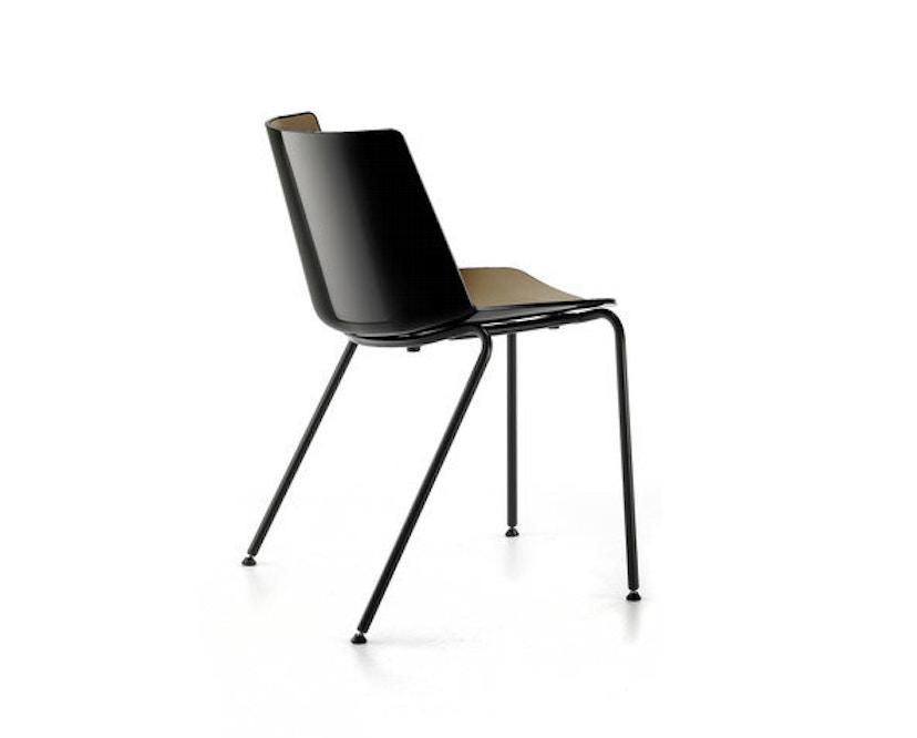 MDF Italia - AÏKU Stuhl - glänzend weiß/mittelblau - 4 runde Beine - 6