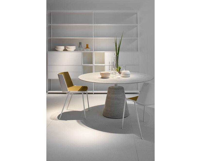 MDF Italia - AÏKU Stuhl - glänzend weiß/mittelblau - 4 runde Beine - 8