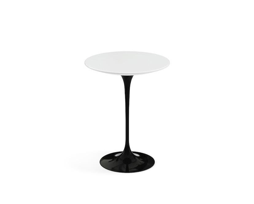 Knoll International - Saarinen Beistelltisch - rund 41 Ø - Laminat weiß - Säulenfuß schwarz - 0