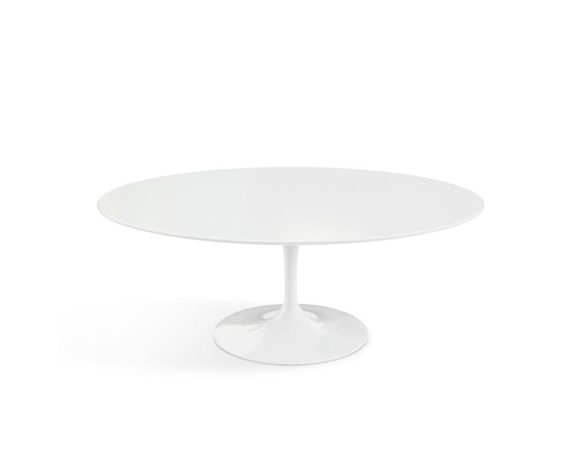 Knoll International - Saarinen Couchtisch - oval - 107x70x39 - Laminat weiß - Säulenfuß weiß - 0