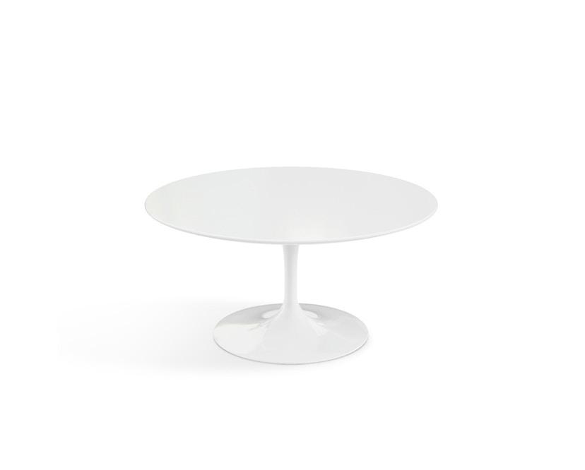 Knoll International - Saarinen Couchtisch - rund 91 Ø - Laminat weiß - Säulenfuß weiß - 1