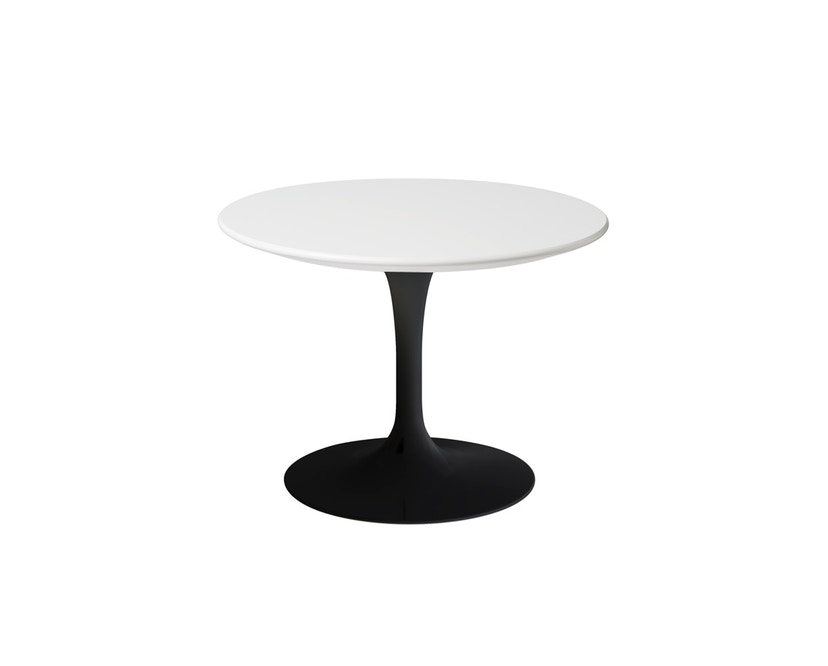 Knoll International - Saarinen Outdoor Beistelltisch - rund 51 Ø - Säulenfuß schwarz - weißer Akrylstein - 1