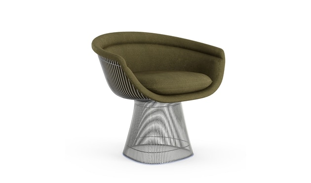 Knoll International - Platner Lounge Armlehnsessel - Circa oliv - polierter Nickel - 0