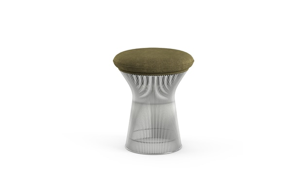 Knoll International - Platner Hocker - Circa oliv - polierter Nickel - 0