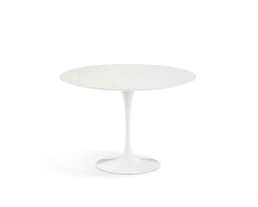 Knoll International - Saarinen Outdoor Esstisch - rund  107 Ø - Säulenfuß weiß - weißer Akrylstein - 2