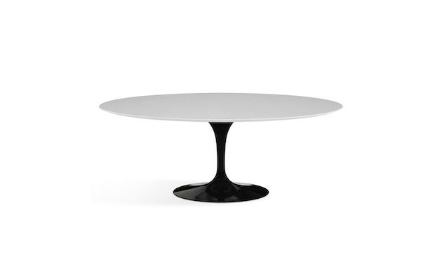 Knoll International - Saarinen Esstisch - oval - 198x121x74 - Laminat weiß - Säulenfuß schwarz - 0