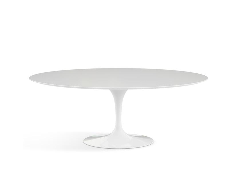 Knoll International - Saarinen Esstisch - oval - 198x121x74 - Laminat weiß - Säulenfuß weiß - 0