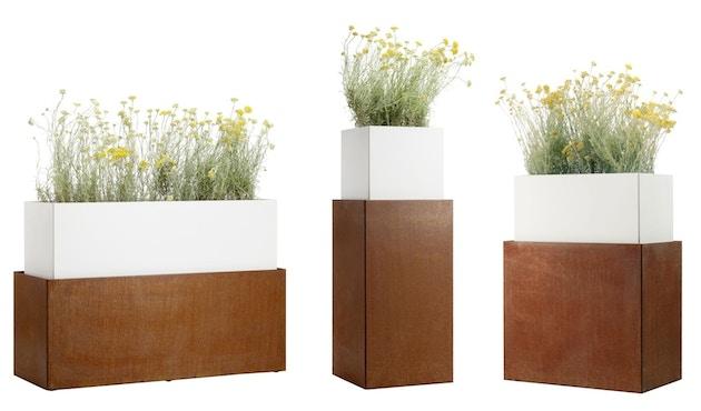 Flora - One in One 110 Pflanzengefäß  - Corten/weiß - 3