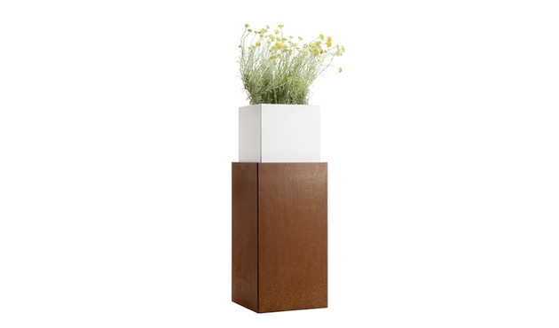 Flora - One in One 110 Pflanzengefäß  - Corten/weiß - 2