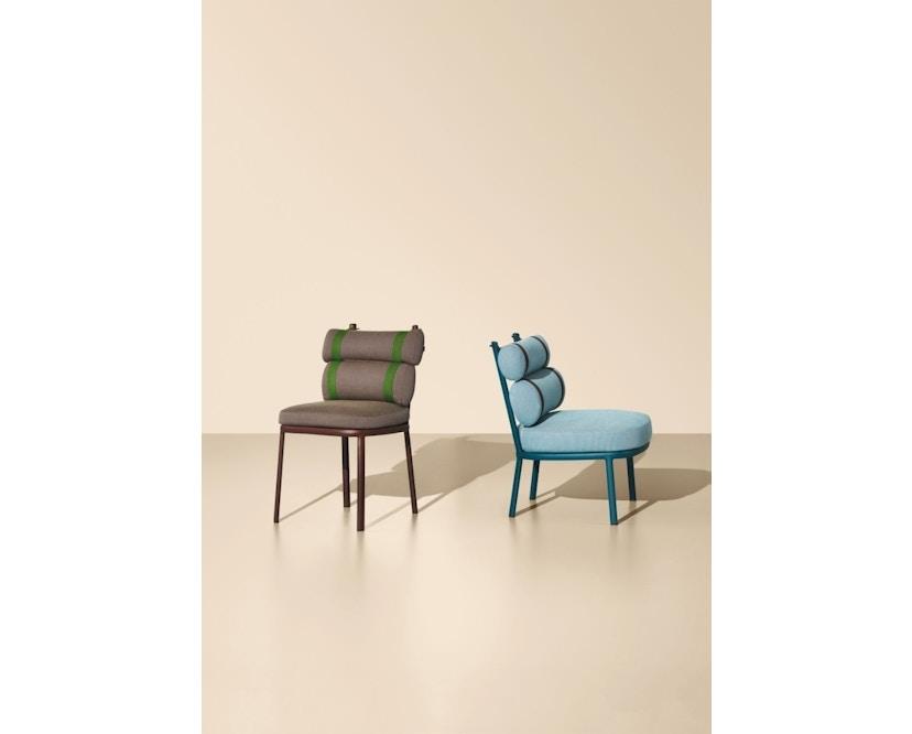 Kettal - Roll Club Sessel - kamillenweiß - Bezug arktikblau - Kontraststreifen braun - 3