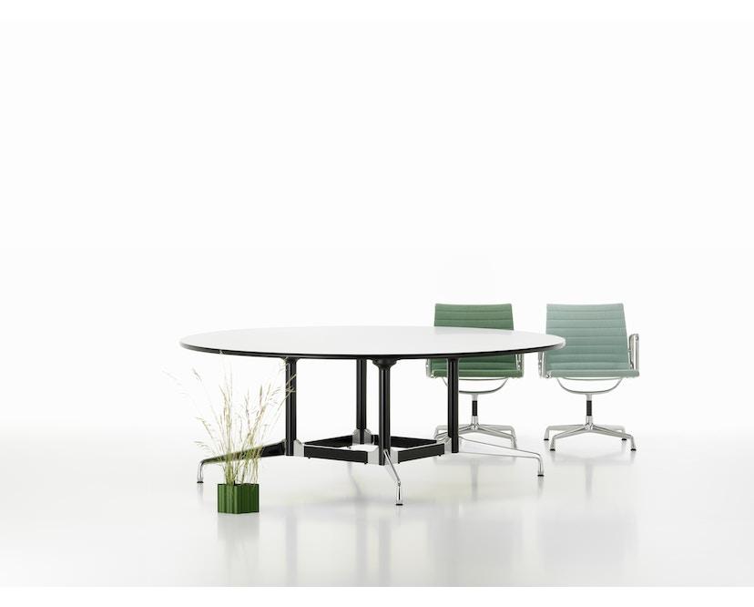 Vitra - Eames Segmented Table Meeting Bootsform 200 x 115 cm, Ausleger poliert, Standrohr basic dark - HPL weiß, Kunstoffkante schwarz - 3