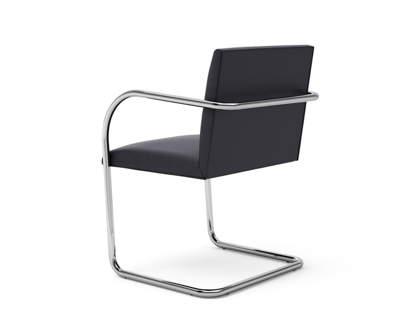 Knoll International - Chaise avec accoudoirs Brno - Tube rond - Volo Black - noir - sans accoudoir - 1