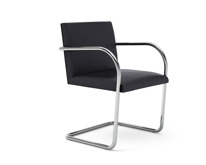 Knoll International - Chaise avec accoudoirs Brno - Tube rond - Volo Black - noir - sans accoudoir - 0