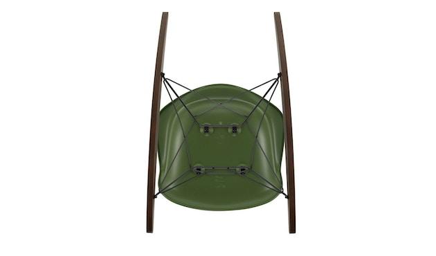 Vitra - Eames Plastic Armchair RAR mit Vollpolster, Gestell basic dark, Kufen Ahorn gelblich, Bezug nero - forest - 3