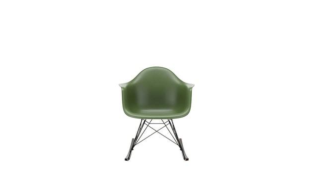Vitra - Eames Plastic Armchair RAR mit Vollpolster, Gestell basic dark, Kufen Ahorn gelblich, Bezug nero - forest - 0