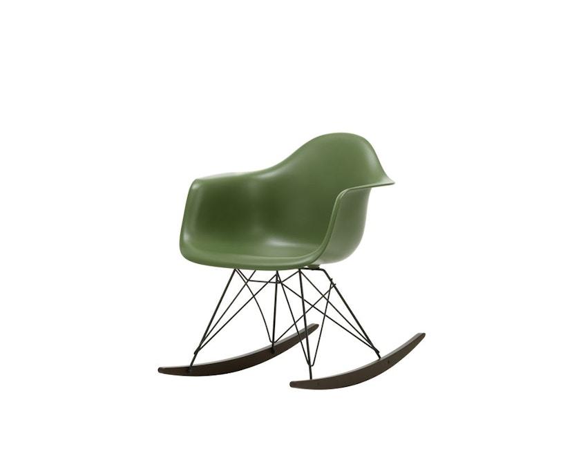 Vitra - Eames Plastic Armchair RAR mit Vollpolster, Gestell basic dark, Kufen Ahorn gelblich, Bezug nero - forest - 4