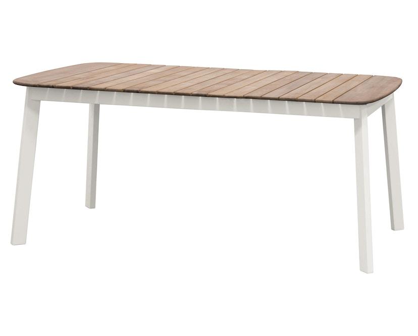 Emu - Shine Tisch - Tischplatte Teak - S - Gestell weiß - 2