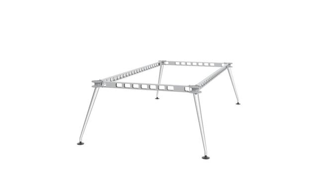 Vitra - MedaMorph Konferenztisch bootsförmig, 200x100 cm, Systemfuß poliert - Melamin soft light - 9