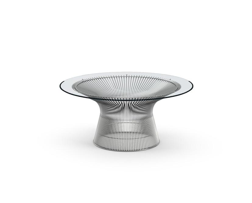 Knoll International - Platner Salontafel - Nikkel gepolijst - Kristalglas - Ø 91,5 cm - 0