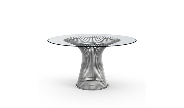 Knoll International - Platner Esstisch - 135 Ø -   Kristallglas - polierter Nickel - 0