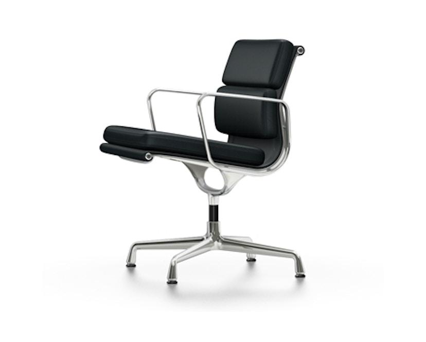 Vitra - Aluminium Chair - Soft Pad - EA 208 - gepolijst - Leer - nero - Glijders voor harde bodems - 1