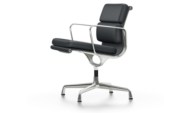 Vitra - EA 208 Soft Pad Chair, Gestell poliert, Filzgleiter Hartboden Soft Pad Chair - Vitra Leder 67 asphalt - 1
