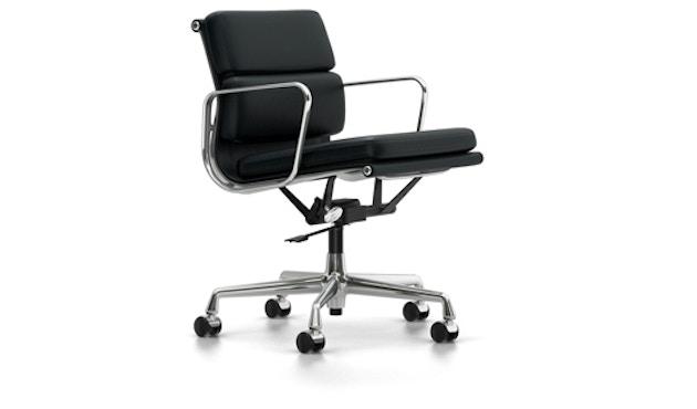 Vitra - EA 217 Soft Pad Chair, Gestell poliert, Rollen hart für Teppich - Vitra Leder 66 nero - 0