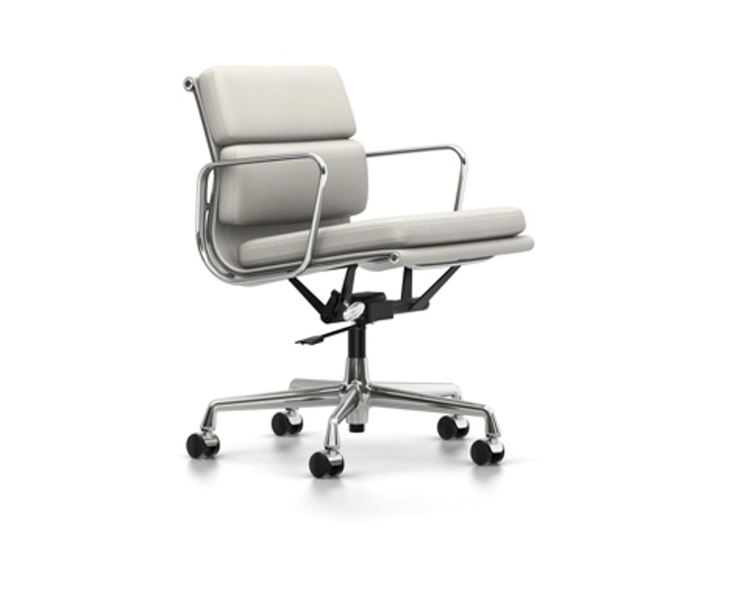 Vitra - EA 217 Soft Pad Chair, Gestell poliert, Rollen weich für Hartböden Soft Pad Chair - Vitra Leder 72 snow - 1