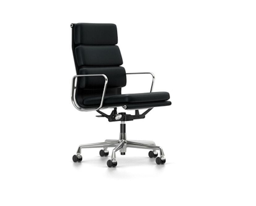 Vitra - Aluminium Chair - Soft Pad - EA 219 - gepolijst - Leer - nero - Wieltjes voor tapijt - 0