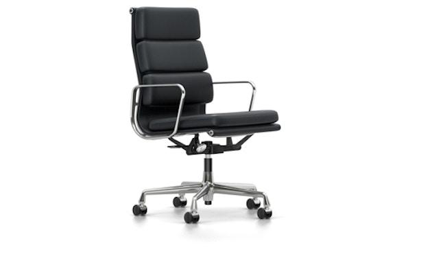Vitra - EA 219 Soft Pad Chair, Gestell poliert, Rollen weich für Hartböden - Vitra Leder 67 asphalt - 0
