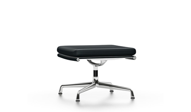 Vitra - EA 223 Soft Pad Chair, Gestell poliert, Filzgleiter Hartboden - Vitra Leder 66 nero - 1