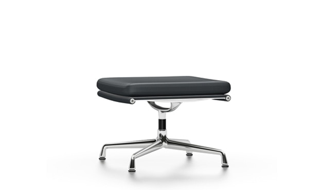 Vitra - EA 223 Soft Pad Chair, Gestell poliert, Filzgleiter Hartboden - Vitra Leder 67 asphalt - 1
