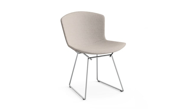 Knoll International - Bertoia Side Stuhl - sandgrau - Gestell Chrom glänzend -  gepolstert - 0
