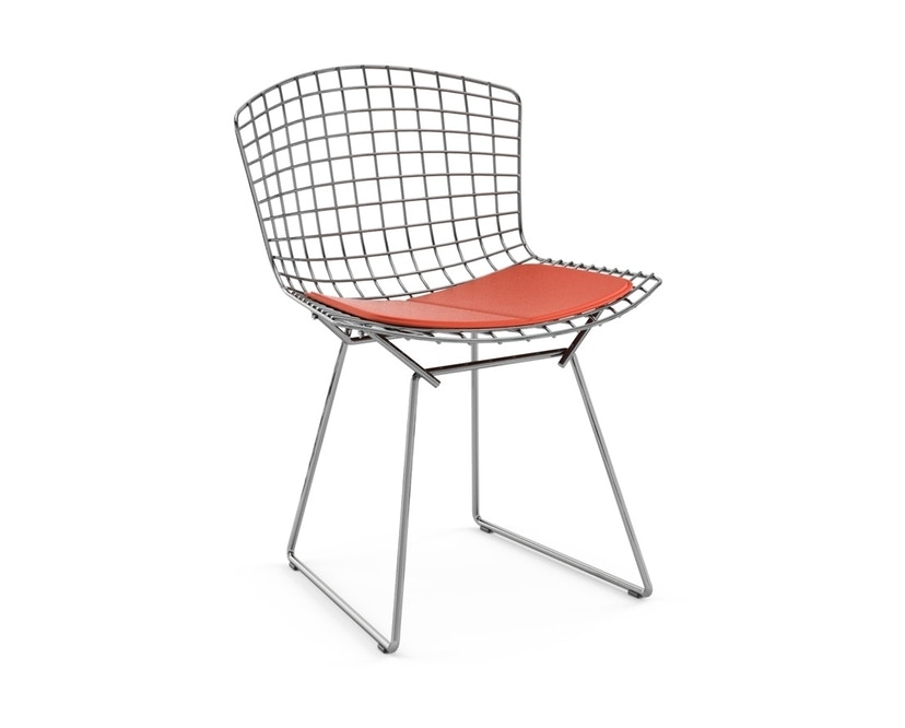 Knoll International - Bertoia Side Stuhl - Chrom glänzend - Vinyl orange - 0