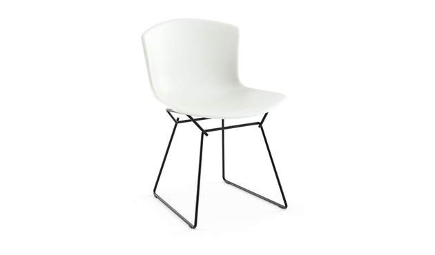 Knoll International - Bertoia Plastic Side Chair - weiß - Gestell schwarz - 0