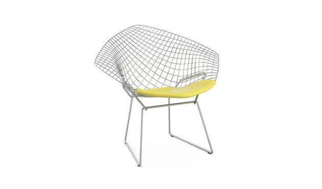 Knoll International - Bertoia Diamond Sessel - Chrom hochglänzende - Vinyl gelb - 0