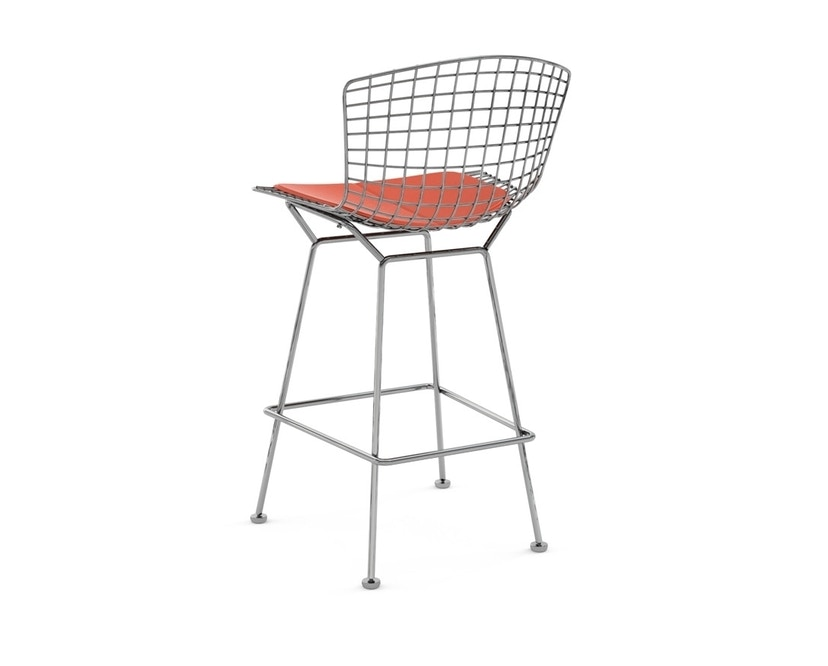 Knoll International - Bertoia Barhocker - Sitzkissen Vinyl orange - Gestell Chrom poliert - Höhe 100 cm - 1
