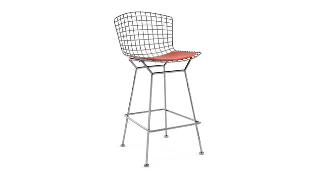 Knoll International - Bertoia Barhocker - Sitzkissen Vinyl orange - Gestell Chrom poliert - Höhe 100 cm - 0