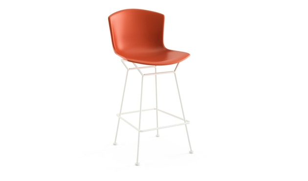 Knoll International - Tabouret de bar Bertoia Plastic  - rouge orange - blanc - 104 cm - 0