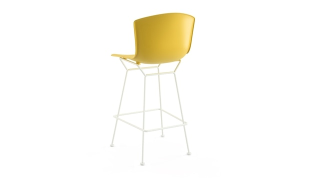 Knoll International - Bertoia Plastic Barhocker - Sitz gelb - Gestell weiß - Höhe 104 cm - 1