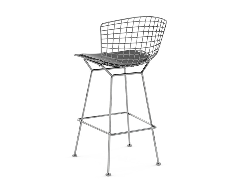 Knoll International - Bertoia Barkruk - 104 cm - chroom glanzend - Vinyl - zwart - 1